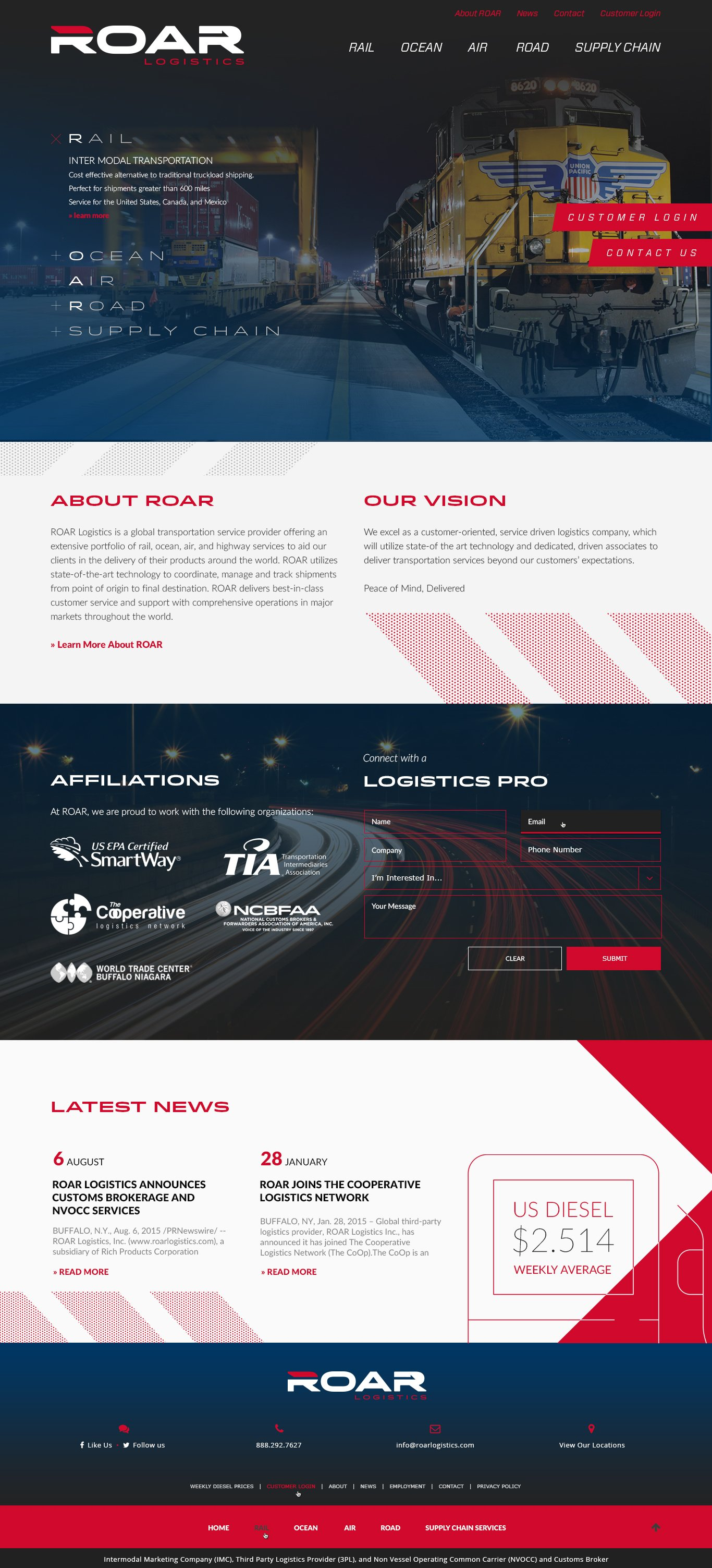 ROAR Logistics Homepage